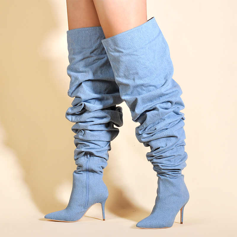 Phiên Bản giới hạn Hồng Lòng Bàn Tay Giày Nữ Đùi Giày Cao trong Mùa Đông Trên Đầu Gối Giày Bốt Nữ Cao Gót Kẻ Sọc Giày nữ
