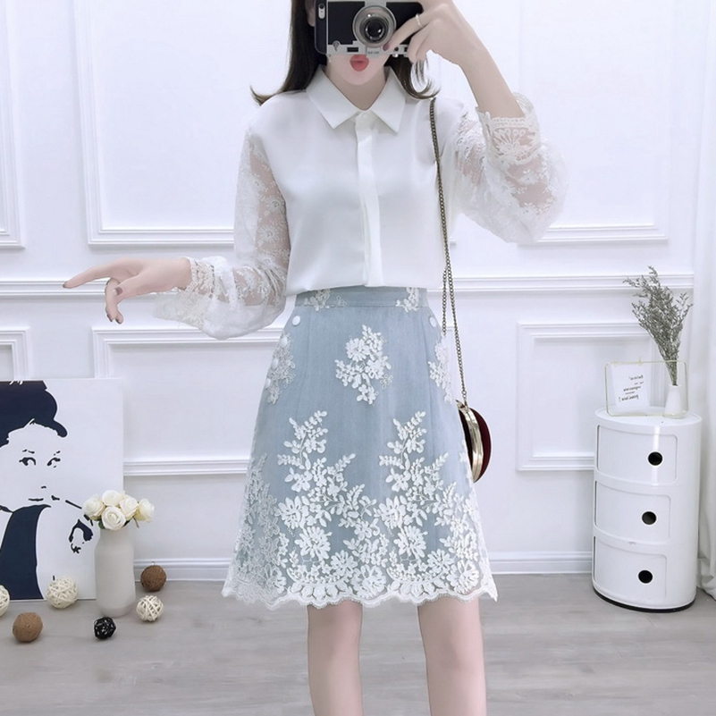 SexeMara fashion The New Lace Embroidered Perspective Shirt + Embroidered Skirt Two-Piece Set  free shipping