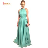Simple Bridesmaid Dresses Turquoise Chiffon Party Dress For Wedding Sexy Backless Women Gowns bruidsmeisje jurk blauw