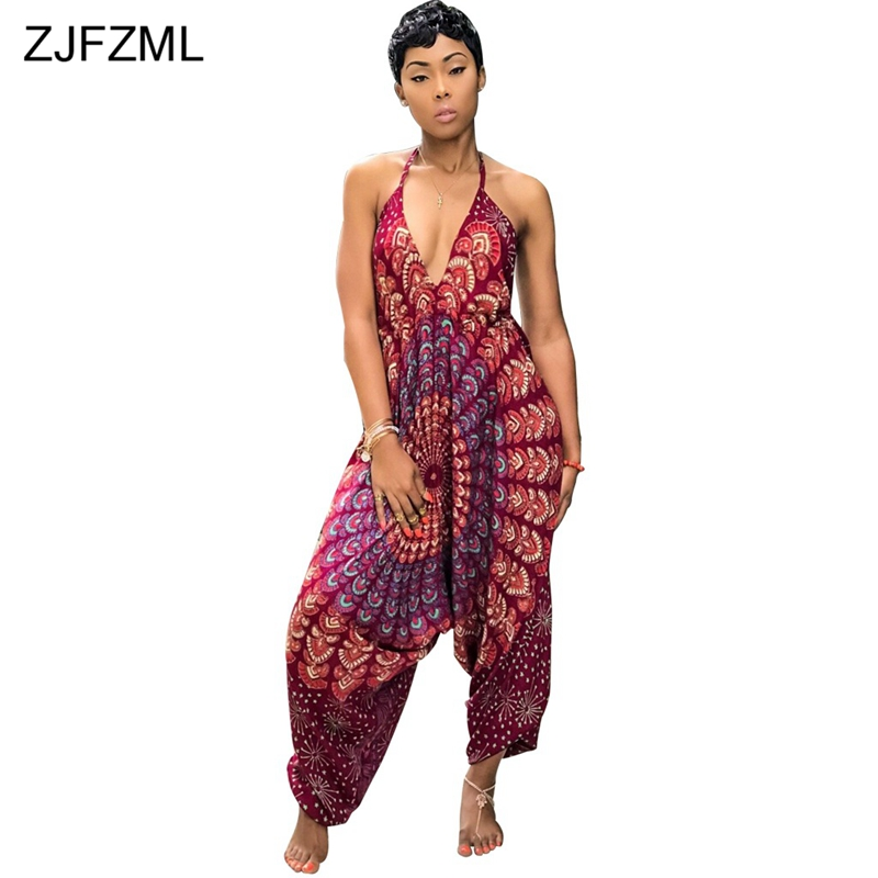 ZJFZML Printed Dashiki African Jumpsuits For Women Deep V Neck Sleeveless Party Romper C ...