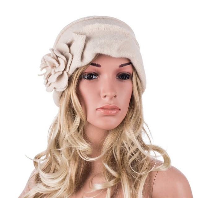 High Quality New Fashion Elegant Ladies Hats Winter Beret Hats for Women Outdoor Casual Cloche Cap Wool Beanie Hats A376