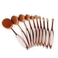 465 Rose Gold 10 Pcs Tooth Brush Shape Oval Makeup Brush Set MULTIPURPOSE Professional Foundation Powder