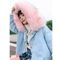 2017 Thick Jeans Denim Jacket Ladies Windbreaker Female Winter Bomber Women Spring Autumn Bomber Coat With Big Pink Fur