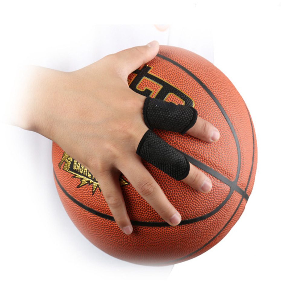 High Safety Mail & Shipping Supplies 10pcs Basketball Volleyball Sports Finger Armfuls Knitted Finger Joints Slip Elastic Fingerstall Caps Protective Pad Black Hot