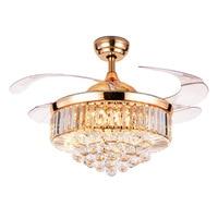LukLoy European style LED Invisible Crystal Fan Light Restaurant Luxury Decorative Practical Energy Saving Ceiling Fan Light