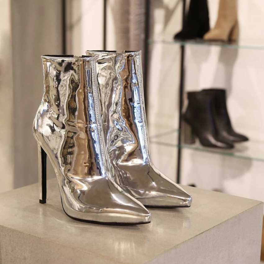 Gümüş Rugan yarım çizmeler 10.5 CM Yüksek Topuklu Çizmeler Kadın Kış Ayakkabı Kadın Sivri Burun Botas Kadın Bahar Sonbahar Çizmeler