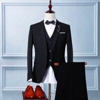 الرجال السود الدعاوى عالية الجودة سترة فستان الزفاف الدعاوى 3 قطعة بدلة (سترة + سروال + سترة)