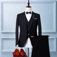 Männer Schwarzen Anzügen Hochwertigen Jacke Kleid Hochzeit Bräutigam Smoking 3 Stück Anzug (Jacke + Pants + Weste)