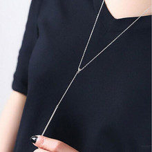 New Simple Compact 925 Silver Exquisite Small Jewelry One Shape Sweater Chain Female Pendant Necklace  H146