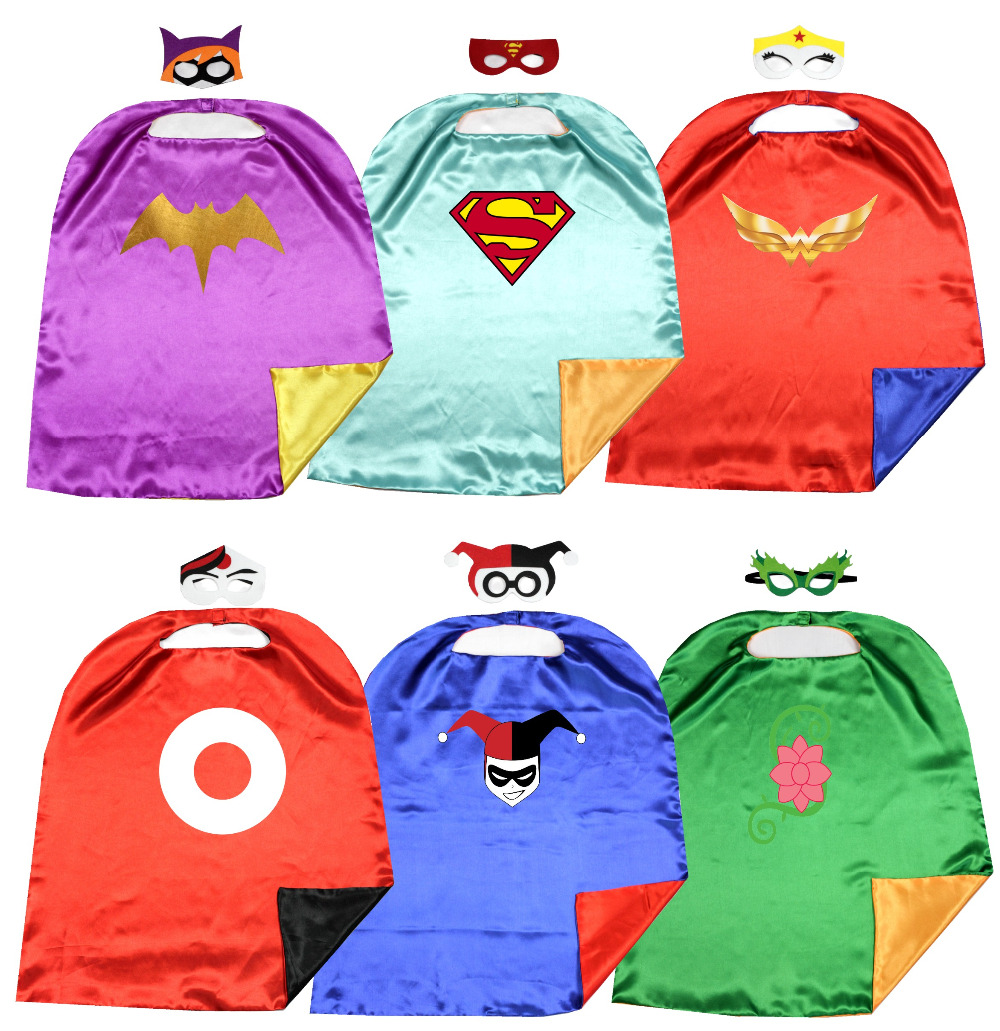 kids girls  Justice League superhero girls cape+mask set comic cartoon dress up gifts party favors Birthday cape