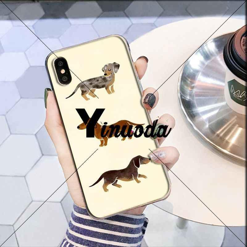 Yinuoda Animais Cães Dachshund Pintado DIY Acessórios Do Telefone Caso para Apple iPhone 8 7 6 6 S Plus X XS MAX 5 5S SE XR Celulares