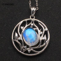 CSJ Natural blue Moonstone pendant sterling silver women femme lady Necklace Wedding Engagement party Gift Fine Jewelry