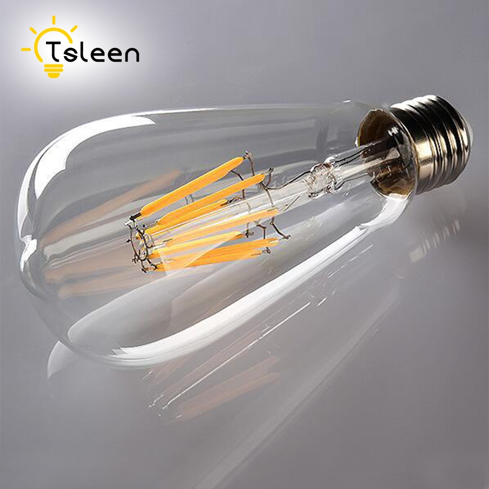 Cheap 220V 110V Retro Real Watt Vintage LED Edison Bulb E27 LED Filament Light LED Bulb Lamp Candle Light 4W 16W Powerful LEDS retro lamp st64 vintage led edison e27 led bulb lamp 110 v 220 v 4 w filament glass lamp