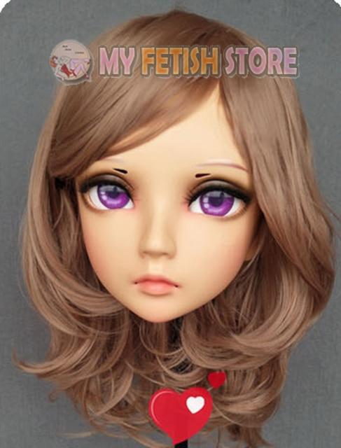 (GL335)Female Sweet Girl Resin Half Head Kigurumi BJD Eyes Crossdress Cosplay Japanese Anime Role Lolita Mask With Eyes And Wig