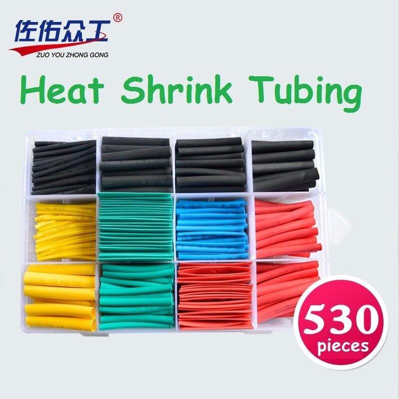 530 unids/set Aislamiento Tubería de Encogimiento de Calor Tubo Retráctil de Poliolefina Surtido Electronic 2:1 Wire Wrap Cable Kit Manga