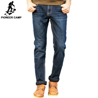 Pioneer Camp Winter Men Jeans Thicken Fleece Trousers Brand Clothing 2016 New Fashion Casual Trousers Male
