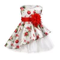 European and American style summer baby dress sleeveless girl princess printing asymmetrical knee length baby girl dress party