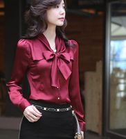 Office Women Blouses 2016 Trendy Red Clothes Plus Size Casual Shirt Ruffles Long Sleeve Bow Ties