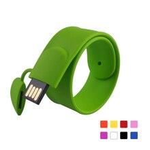 Nueva llegada Al Por Menor colorido pareja pulsera de silicona silicio disco usb pen drive 2 gb móvil para tablet
