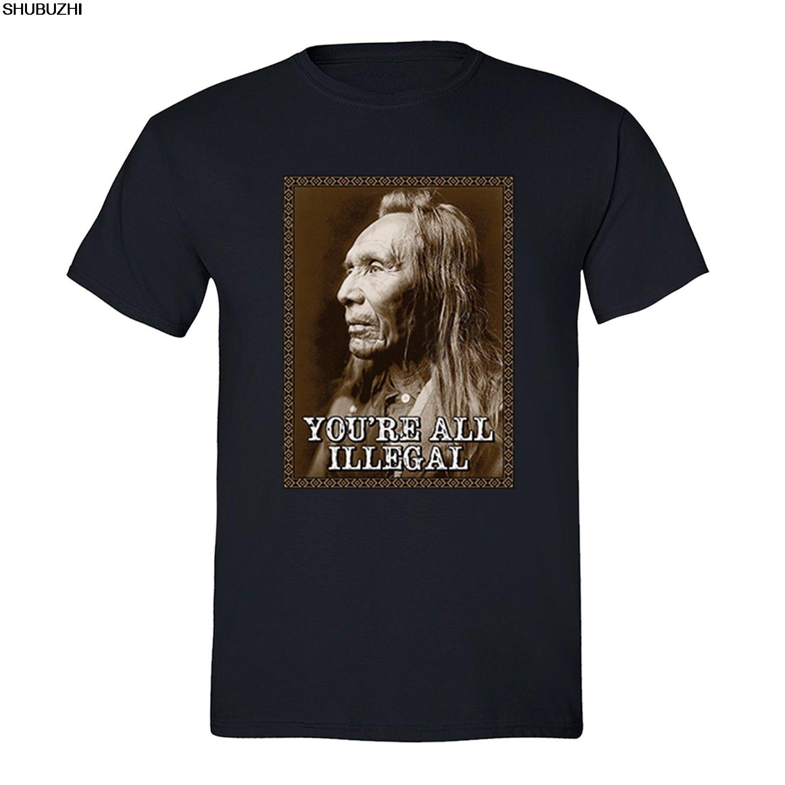 Qualifiziert Alle Illegalen Kampf Terrorismus T-shirt Native American Flag Usa Indische T-shirt Sbz1230 Vertrieb Von QualitäTssicherung Oberteile Und T-shirts