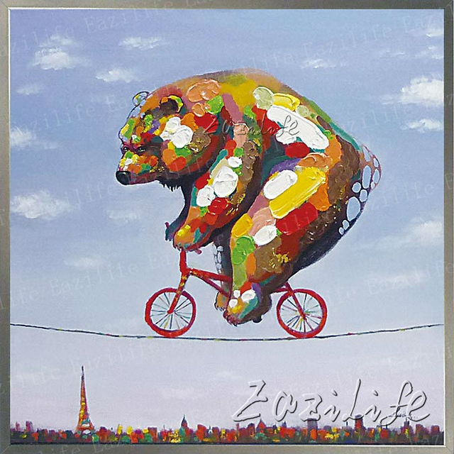 Bear Animal Oil painting On Canvas Wall Pictures For Living Room Wall Art Canvas plattle knife modern abstract hand painted
