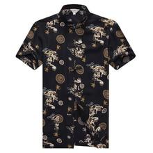 WAEOLSA Men Ethnic Pattern Shirt Cotton Tunic Blouse White Black Red Tang Tops Man Summer Vintage Male Classical