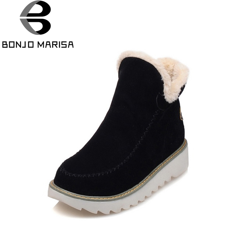 BONJOMARISA Big Size 34-43 Winter Snow Boots Women Ankle Boots 2016 Round Toe Platform Winter Shoes With Fur Woman Fur Shoes 2018 new sweet bowtie women boots ankle boots low heels boots woman winter snow boots platform shoes woman large size 34 43