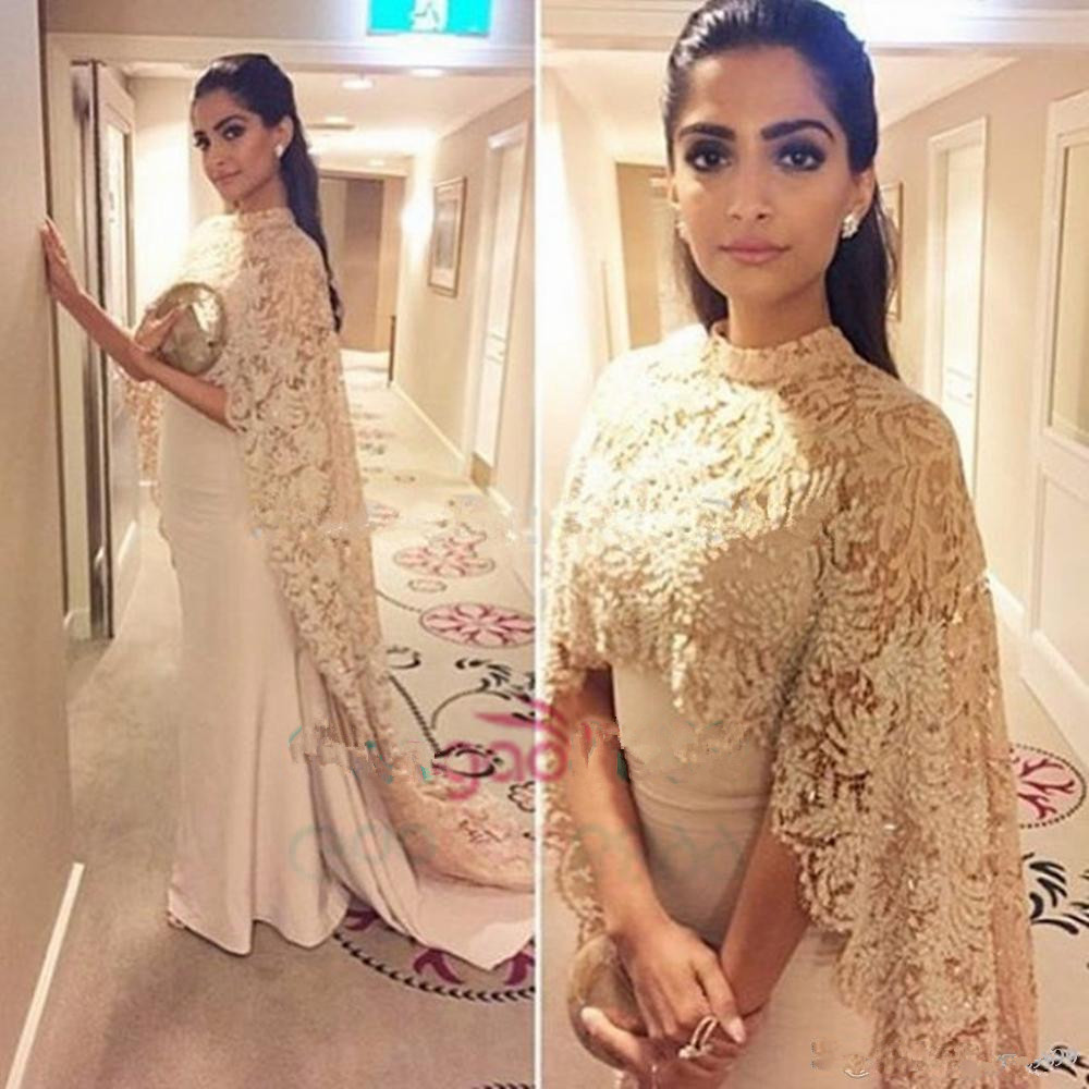 Sofuge Khaki Long Sleeve Evening Dresses Straight Lace Appliques Long Sleeve Satin Arabic Muslim Special Occasion