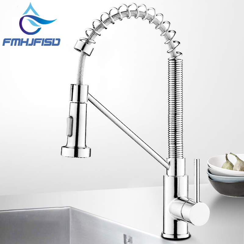 Single Handle Commercial Kitchen Faucet with Dual Function Pull Down Spray Head Solid Brass 360 Swivel