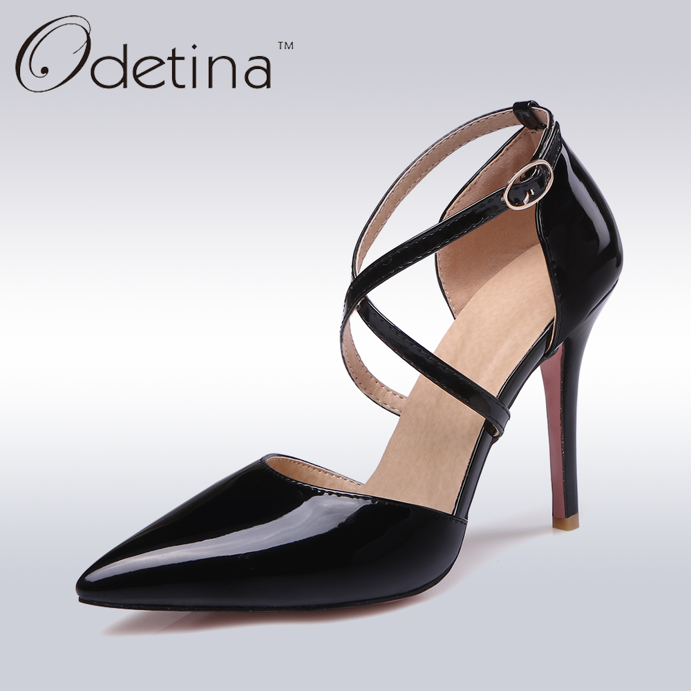 Odetina 2017 New Fashion Brand Candy Color Women High Heels Pointed Toe Cross Strap Pumps Ankle Strap High Heel Shoes Buckle
