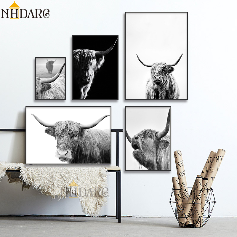 Mountains Highland Cow Wall Art Canvas Poster Print Skandinavian Home Decoration