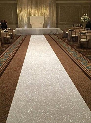 Lqiao Sequin Aisles Floor Runner White 4ftx15ft Wedding Aisle Silver Carpet For
