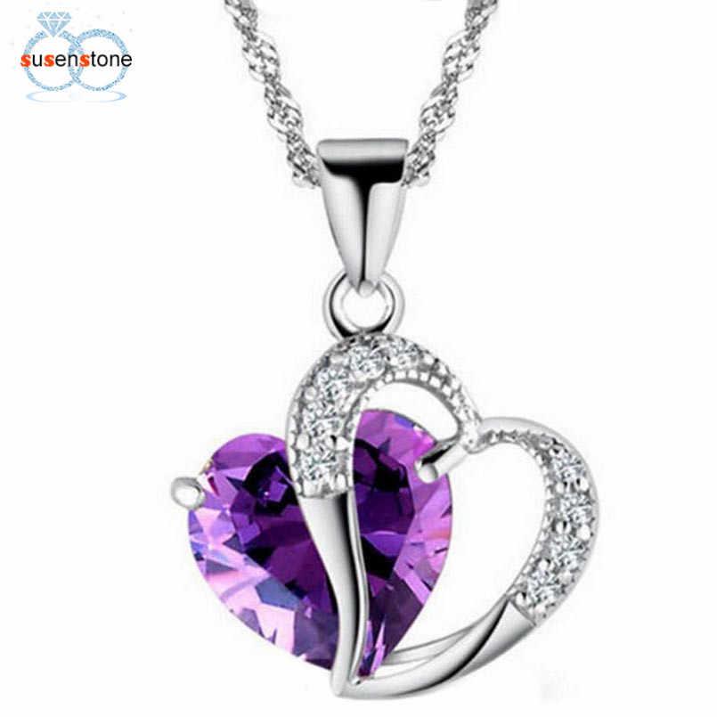 SUSENSTONE 2019 mode femmes coeur cristal strass argent chaîne pendentif collier bijoux