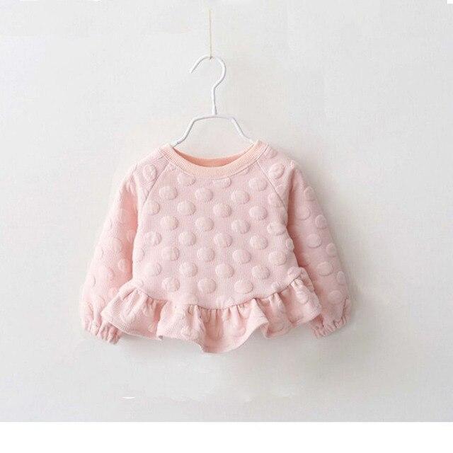 New Winter Warm Baby Girls Sweaters Long-Sleeved O-Neck Big Dot Kids Draped Sweater Dress 6