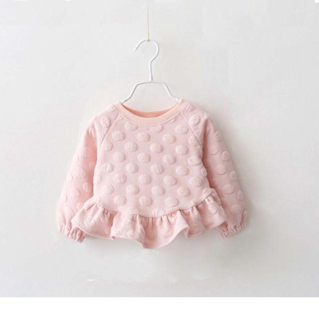 Nuevo invierno cálido Baby Girls jerseys manga larga del o-cuello grande Dot niños drapeado vestido de suéter 6