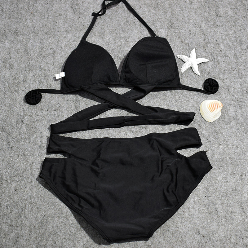 QIANG YI 2017 Bandage Sexy Bikini set Women Swimwear Swimsuit Push Up Cross Hollow Halter Bathing Suit Beach Padded Summer Style 2