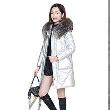Chaqueta de plumón de cuero genuino de gran tamaño para mujer abrigo de cuero de oveja largo medio 2019 invierno nueva ropa de abrigo de cuero suelto para mujer FC21