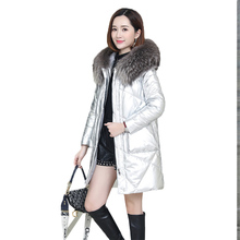 Large Size Genuine Leather Down Jacket Women Medium Long Sheep Leather Coat 2019 Winter New Loose Leather Outerwear Female FC21 free shipping 2014 genuine leather down coat women medium long paragraph sheep fur plus size winter leather overcoat m 5xl