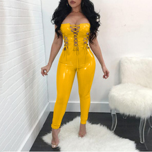 Sexy Women Catsuit Lace Up Faux Leather Bodysuit PVC Latex Tight Fitting Jumpsuit PU Shining Hollow-out Club Dance Wear
