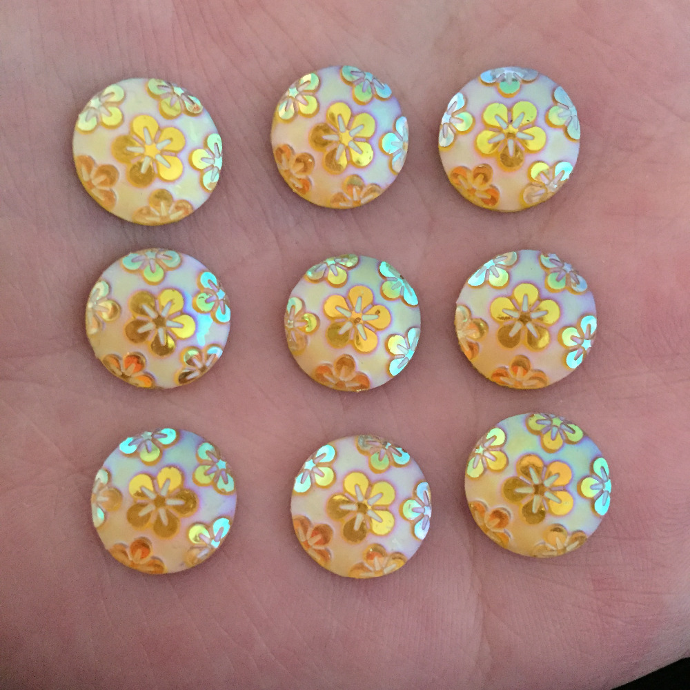 Wedding Flowers In Resin: (60 Pieces/lot) Yellow AB Round Resin Flower Flatback
