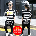 2017 The new during the spring and autumn outfit girls tide van harlan round collar letters stripe cuhk child harlan suits