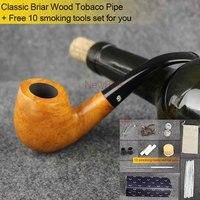 NewBee 10 Tools Kit Pure Handmade Briar Wooden Smoking Pipe SOHO Flame And Birds Eye Wood