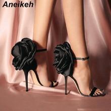 Aneikeh/летние женские босоножки с большим бантом Туфли на высоком каблуке-шпильке пикантные туфли-лодочки из органической кожи с ремешком на щиколотке свадебные туфли для вечеринки Размеры 4-9