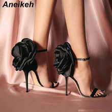 Aneikeh Summer Big Butterfly-knot Women Sandals Stiletto High Heel Shoes Ankle Strap OL Sexy Pump Party Wedding Shoes Size 35-40