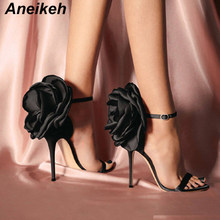 Aneikeh Summer Big Butterfly-knot Women Sandals Stiletto High Heel Shoes Ankle Strap OL Sexy Pump Party Wedding Shoes Size 35-40(China)