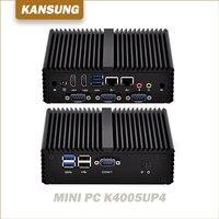 シンクライアントファンレス12ボルトミニpcデュアルコア2 lan nic 4 * com産業x86コンピュータCore-i3-4005U/i3-4010Yデスクトップ個人ルー