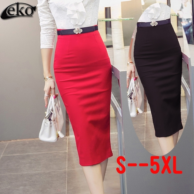 1a89f087b Elegant OL Skirt Female Slim Women High Waist Skirt Vintage Autumn Winter  Skirts Black Red Ladies