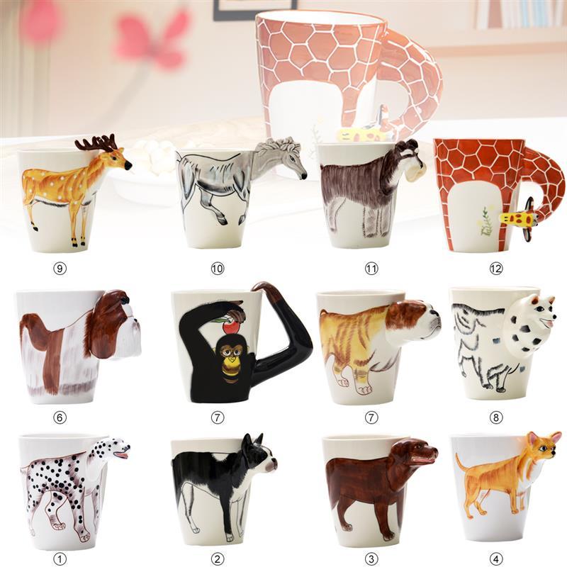 3D Hand Painted Animal Ceramic Coffee Mugs