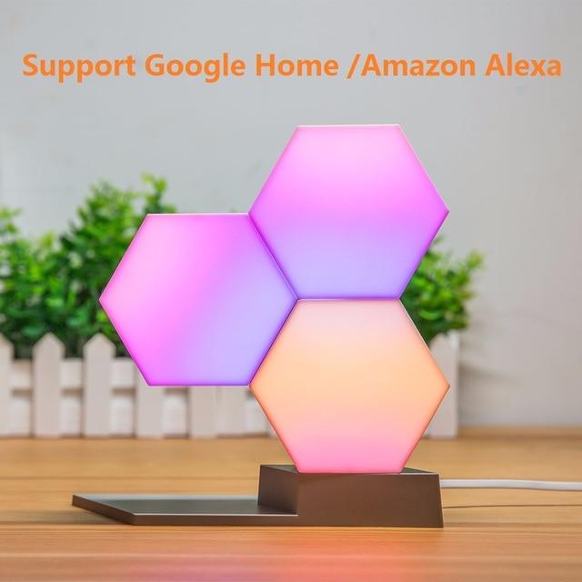 Lifesmart 3 Pcs DIY Quantum Lights Creative Geometry Assembly LED Night Light Smart Control For Google Home Amazon Alexa Lamp