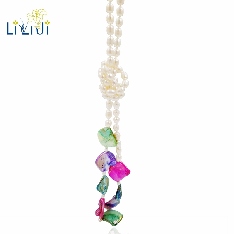 Lii Ji D'eau Douce Perle Multi Couleur Shell Perle Long Collier 143 cm